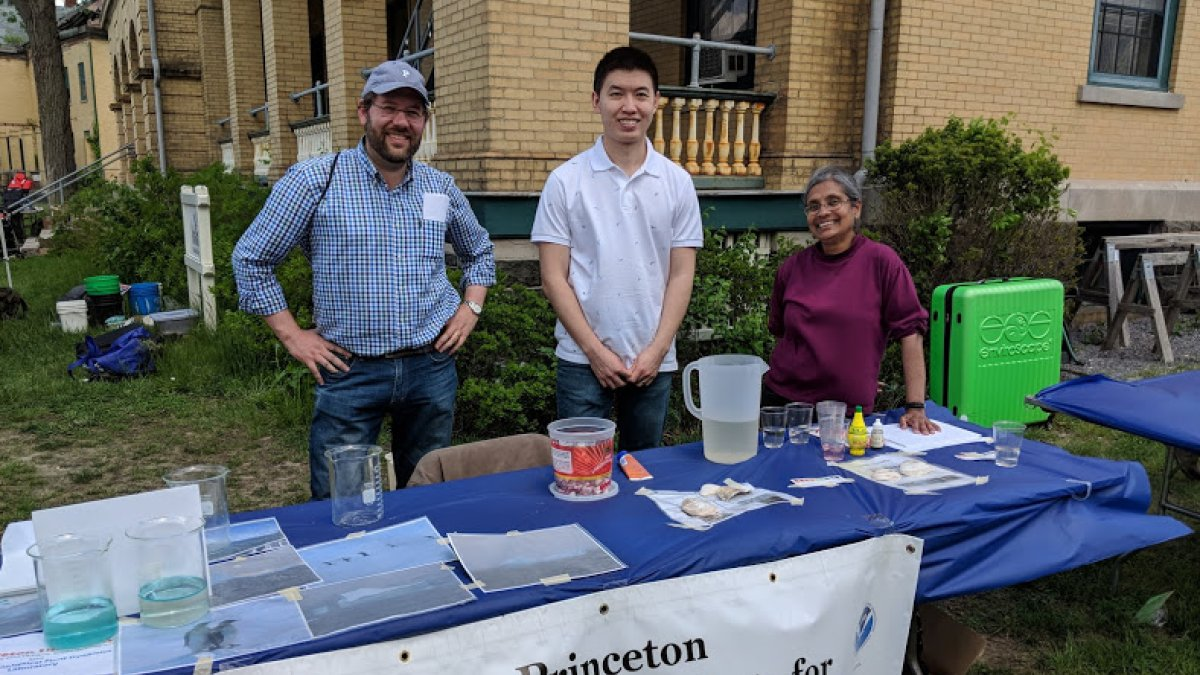 Photo of AOS Associate Research Scholar Salvatore Pascale, AOS Postdoctoral Research Associate Feiyu Lu, and GFDL Physical Scientist Jasmin John at 2018 Ocean Fun Days at the Jersey Shore